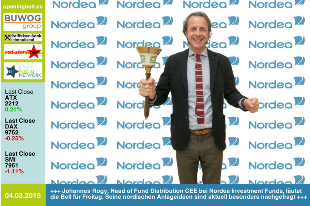 #openingbell am 4.3: Johannes Rogy, Head of Fund Distribution CEE bei Nordea Investment Funds,  läutet die Opening Bell für Freitag. Seine nordischen Anlageideen sind aktuell besonders nachgefragt http://www.nordea.at http://www.openingbell.eu (04.03.2016)