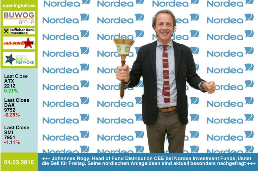 #openingbell am 4.3: Johannes Rogy, Head of Fund Distribution CEE bei Nordea Investment Funds,  läutet die Opening Bell für Freitag. Seine nordischen Anlageideen sind aktuell besonders nachgefragt http://www.nordea.at http://www.openingbell.eu (04.03.2016)