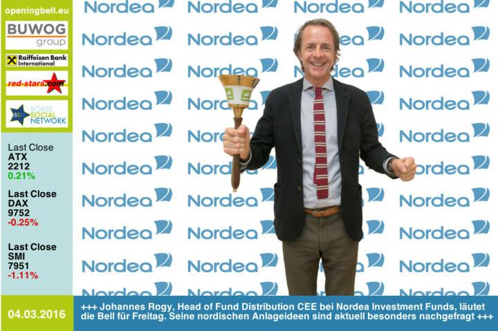 #openingbell am 4.3: Johannes Rogy, Head of Fund Distribution CEE bei Nordea Investment Funds,  läutet die Opening Bell für Freitag. Seine nordischen Anlageideen sind aktuell besonders nachgefragt http://www.nordea.at http://www.openingbell.eu