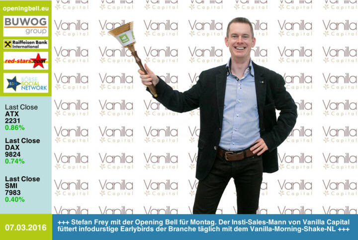 #openingbell am 7.3:  Stefan Frey mit der Opening Bell für Montag. Der Institutional-Sales-Mann von Vanilla Capital füttert infodurstige Earlybirds der Branche täglich mit dem Vanilla-Morning-Shake-NL http://boerse-social.com/search/vanilla http://www.vanilla-capital.com/ http://www.openingbell.eu