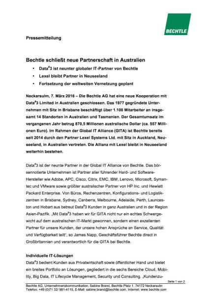 Bechtle schließt neue Partnerschaft in Australien, Seite 1/2, komplettes Dokument unter http://boerse-social.com/static/uploads/file_736_bechtle_schliesst_neue_partnerschaft_in_australien.pdf (07.03.2016)