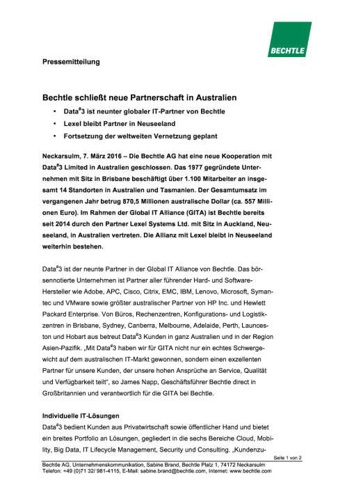 Bechtle schließt neue Partnerschaft in Australien, Seite 1/2, komplettes Dokument unter http://boerse-social.com/static/uploads/file_736_bechtle_schliesst_neue_partnerschaft_in_australien.pdf