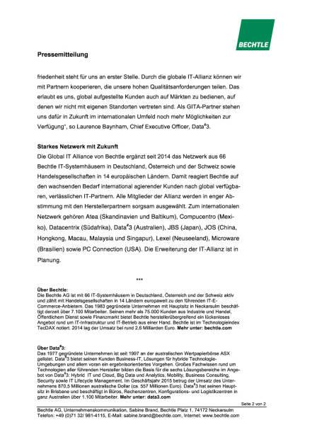 Bechtle schließt neue Partnerschaft in Australien, Seite 2/2, komplettes Dokument unter http://boerse-social.com/static/uploads/file_736_bechtle_schliesst_neue_partnerschaft_in_australien.pdf (07.03.2016)