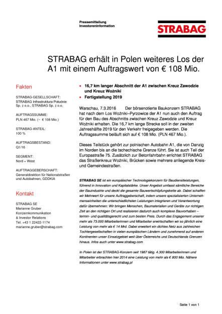 Strabag erhält in Polen weiteres Los der A1 mit einem Auftragswert von € 108 Mio., Seite 1/1, komplettes Dokument unter http://boerse-social.com/static/uploads/file_737_strabag_erhalt_in_polen_weiteres_los_der_a1_mit_einem_auftragswert_von_108_mio.pdf (07.03.2016)