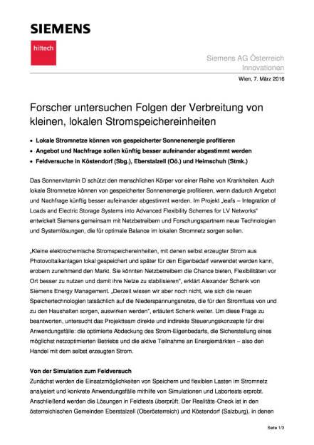 Siemens: Forscher untersuchen Folgen der Verbreitung von kleinen, lokalen Stromspeichereinheiten, Seite 1/3, komplettes Dokument unter http://boerse-social.com/static/uploads/file_739_siemens_forscher_untersuchen_folgen_der_verbreitung_von_kleinen_lokalen_stromspeichereinheiten.pdf (07.03.2016)