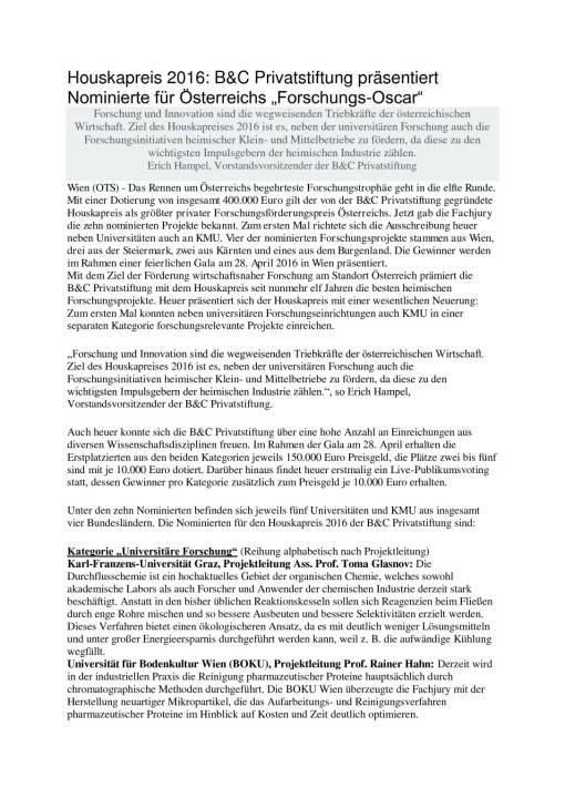 """Houskapreis 2016: B&C Privatstiftung präsentiert Nominierte für Österreichs """"Forschungs-Oscar"""", Seite 1/3, komplettes Dokument unter http://boerse-social.com/static/uploads/file_740_houskapreis_2016_bc_privatstiftung_prasentiert_nominierte_fur_osterreichs_forschungs-oscar.pdf"""