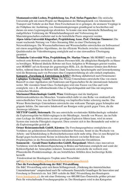 """Houskapreis 2016: B&C Privatstiftung präsentiert Nominierte für Österreichs """"Forschungs-Oscar"""", Seite 2/3, komplettes Dokument unter http://boerse-social.com/static/uploads/file_740_houskapreis_2016_bc_privatstiftung_prasentiert_nominierte_fur_osterreichs_forschungs-oscar.pdf (07.03.2016)"""
