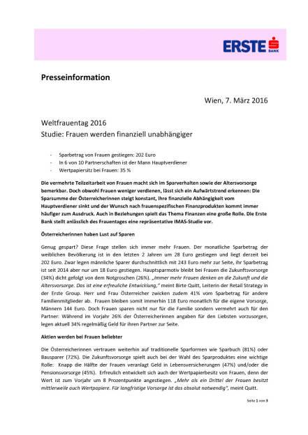 Erste Bank: Frauen werden finanziell unabhängiger, Seite 1/3, komplettes Dokument unter http://boerse-social.com/static/uploads/file_741_erste_bank_frauen_werden_finanziell_unabhängiger.pdf (07.03.2016)