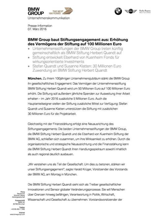 BMW Group baut Stiftungsengagement aus, Seite 1/3, komplettes Dokument unter http://boerse-social.com/static/uploads/file_744_bmw_group_baut_stiftungsengagement_aus.pdf