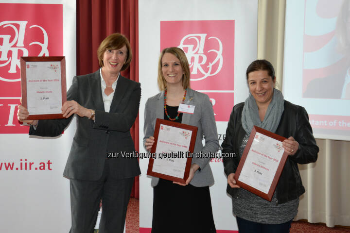 "Margit Lebeda (Mondi Europe & International, Platz 2), Marita Raderbauer (Rail Cargo Austria AG, Platz 1), Gabriela Willheim (PremiQaMed Management GmbH, Platz 3) : Finalistinnen des ""Assistant of the Year"" Awards 2016 : Fotocredit: IIR GmbH"