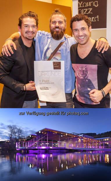 """Tibor Szabo, Markus Lott, Karl Weixelbaumer (Betreiber GastroBizz/Fotocredit: Josef Reiter/GastroBizz), JKU TeichWerk : Gastro-""""Oscar"""" fürs JKU TeichWerk : Der Young Bizz Award gilt als Oscar der Gastronomie und wird alljährlich auf der Gastrobizz-Tagung mit mehr als 400 TeilnehmerInnen vergeben, um das herausragendste neue Gastroprojekt zu küren : And the Young Bizz Award goes to… JKU TeichWerk : Fotocredit: JKU, © Aussendung (08.03.2016)"""