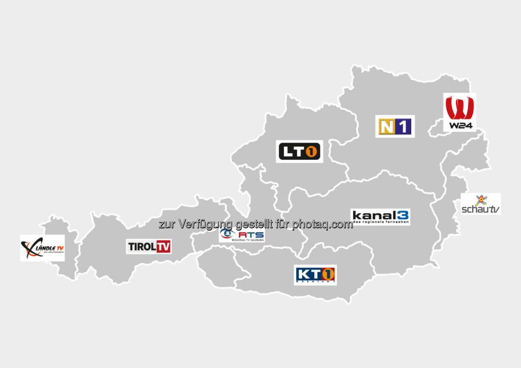 Grafik : R9 - die Regionalsender : Der Kanal R9 Österreich fasst mehrere lokale und regionale TV-Sender aus allen neun österreichischen Bundesländern unter einem Dach zusammen, darunter W24, Ländle TV, Tirol TV, RTS, LT1, KT1, Kanal3, SchauTV sowie N1 : Fotocredit: R9, © Aussender (09.03.2016)