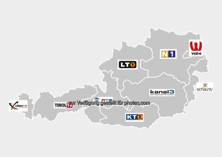 Grafik : R9 - die Regionalsender : Der Kanal R9 Österreich fasst mehrere lokale und regionale TV-Sender aus allen neun österreichischen Bundesländern unter einem Dach zusammen, darunter W24, Ländle TV, Tirol TV, RTS, LT1, KT1, Kanal3, SchauTV sowie N1 : Fotocredit: R9