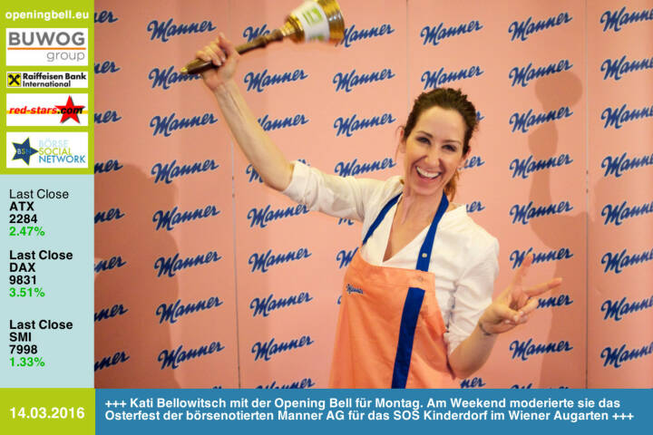 #openingbell am 14.3: Kati Bellowitsch mit der Opening Bell für Montag. Am Weekend moderierte sie das Osterfest der börsenotierten Manner AG für das SOS Kinderdorf im Wiener Augarten http://www.manner.com http://photaq.com/page/index/2394 http://www.photaq.com/page/index/2396 http://www.openingbell.eu