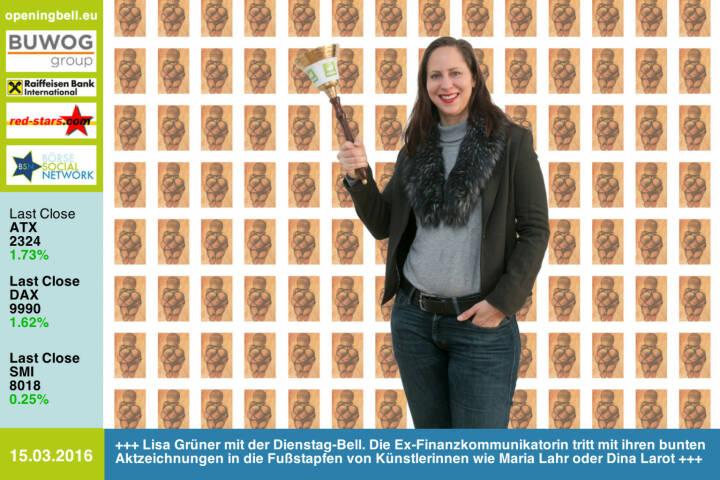 #openingbell am 15.3: Lisa Grüner mit der Opening Bell für Dienstag. Die Ex-Finanzkommunikatorin tritt mit ihren bunten Aktzeichnungen in die Fußstapfen von Künstlerinnen wie Maria Lahr oder Dina Larot http://lisartg.jimdo.com http://www.openingbell.eu