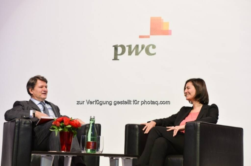 Helmut Brandstätter, Birgit Noggler (CFO Immofinanz), http://blog.immofinanz.com/de/2013/04/08/immofinanz-cfo-im-business-talk/, © PwC Österreich (08.04.2013)