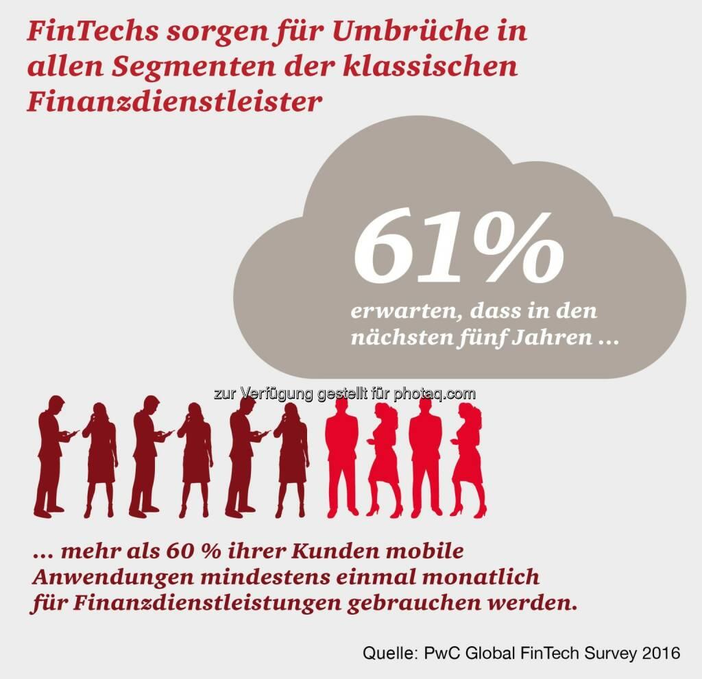 Grafik FinTechs sorgen für Umbrüche in allen Segmenten der klassischen Finanzdienstleister : Fotocredit: PwC, © Aussender (15.03.2016)