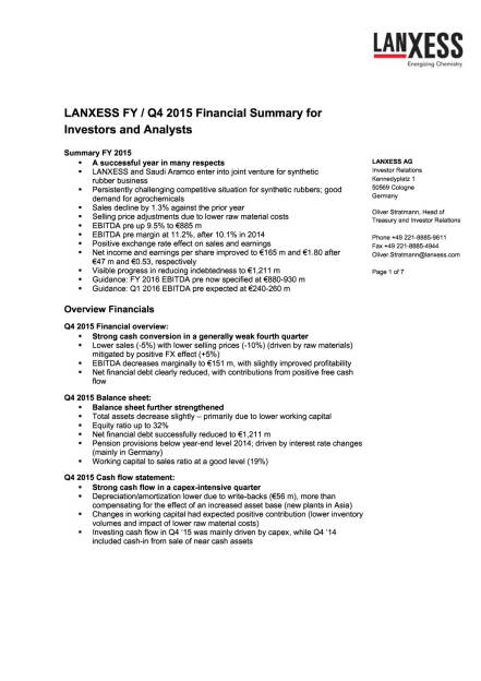 Lanxess Q4 2015, Seite 1/7, komplettes Dokument unter http://boerse-social.com/static/uploads/file_794_lanxess_q4_2015.pdf (17.03.2016)