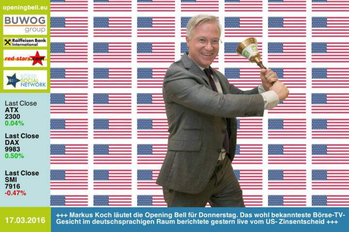 #openingbell am 17.3: Markus Koch läutet die Opening Bell für Donnerstag. Das wohl bekannteste Börse-TV-Gesicht im deutschsprachigen Raum berichtete gestern live vom US- Zinsentscheid http://facebook.com/markus.koch.newyork http://www.openingbell.eu
