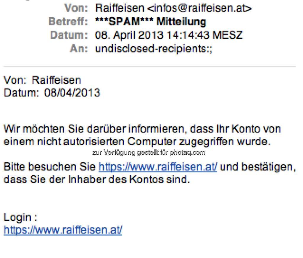 Raiffeisen als Spam-Opfer (08.04.2013)