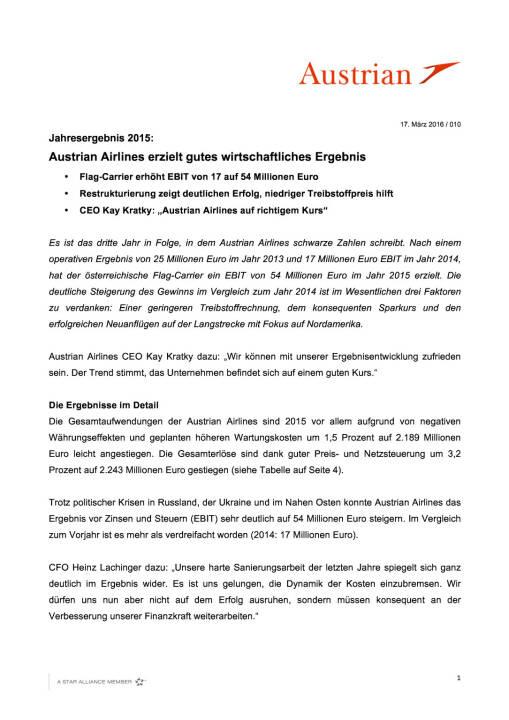 Austrian Airlines Ergebnis 2015, Seite 1/4, komplettes Dokument unter http://boerse-social.com/static/uploads/file_798_austrian_airlines_ergebnis_2015.pdf