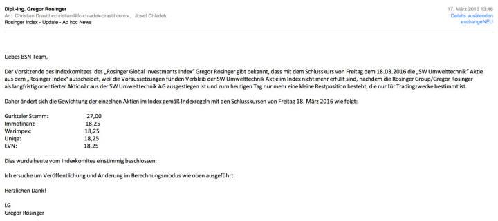 Indexevent Rosinger-Index 10: Herausnahme SW Umwelttechnik per Schlusskurs 18.3.2016, effektiv per Marktstart 21.03.2016
