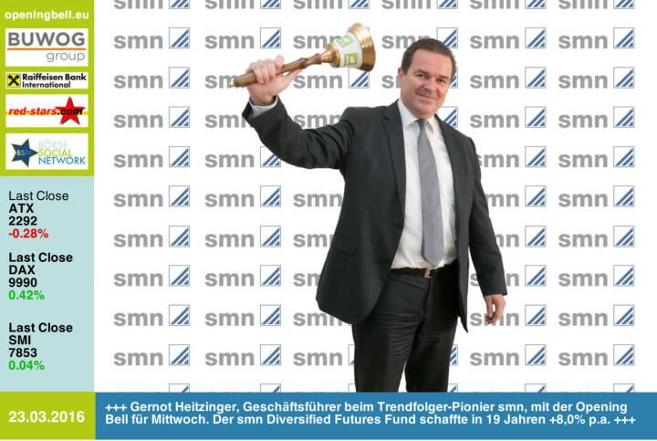 #openingbell am 23.3.: Gernot Heitzinger, Geschäftsführer beim Trendfolger-Pionier smn, mit der Opening Bell für Mittwoch. Der smn Diversified Futures Fund schaffte in 19 Jahren +8,0% p.a. http://www.smn.at http://www.openingbell.eu