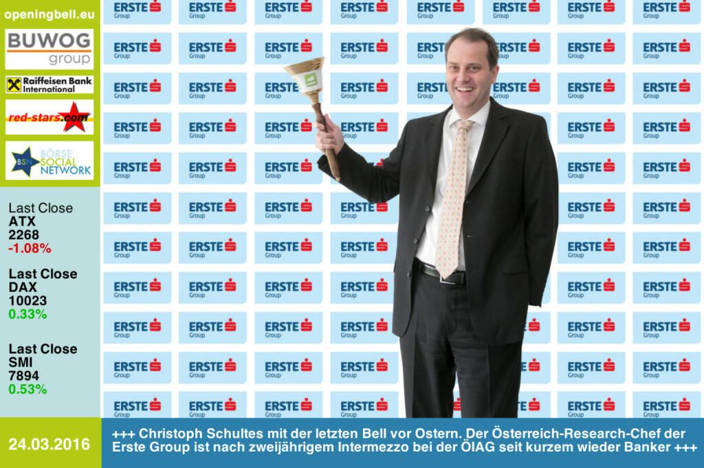 #openingbell am 24.3.: Christoph Schultes mit der letzten Opening Bell vor Ostern. Der Österreich-Research-Chef der Erste Group ist nach zweijährigem Intermezzo bei der ÖIAG erst seit einigen Monaten wieder Banker http://www.erstegroup.com http://www.openingbell.eu (24.03.2016)