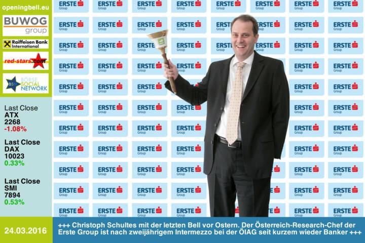 #openingbell am 24.3.: Christoph Schultes mit der letzten Opening Bell vor Ostern. Der Österreich-Research-Chef der Erste Group ist nach zweijährigem Intermezzo bei der ÖIAG erst seit einigen Monaten wieder Banker http://www.erstegroup.com http://www.openingbell.eu