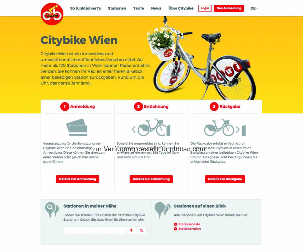 Startseite Citybike Wien: Citybike Wien, Wiens Gratisleihradsystem, ist ab sofort unter der bekannten URL, www.citybikewien.at, mit einem neuen Webauftritt, der auch die Anmeldung via Smartphone ermöglicht, online : Fotocredit: Gewista, © Aussender (29.03.2016)