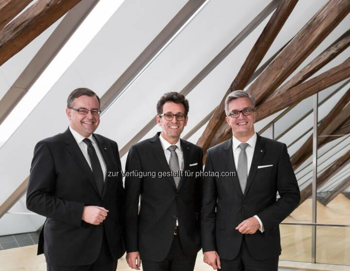 Mario Pabst, Gerhard Burtscher (Vorstandsvorsitzender), Michael Perger : Das neue BTV Vorstandsteam : BTV Top-Kernkapitalquote bringt Kunden Sicherheit : Fotocredit: Thomas Schrott