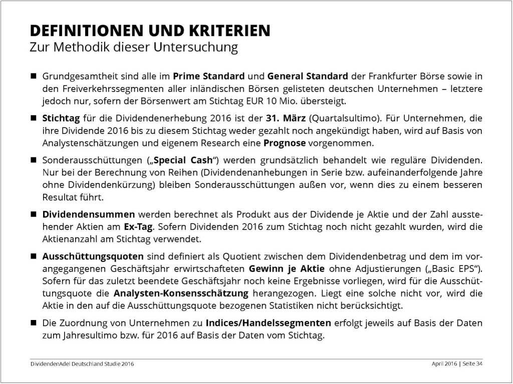 Dividendenstudie 2016: Definitionen und Kriterien, © Dividendenadel.de (06.04.2016)