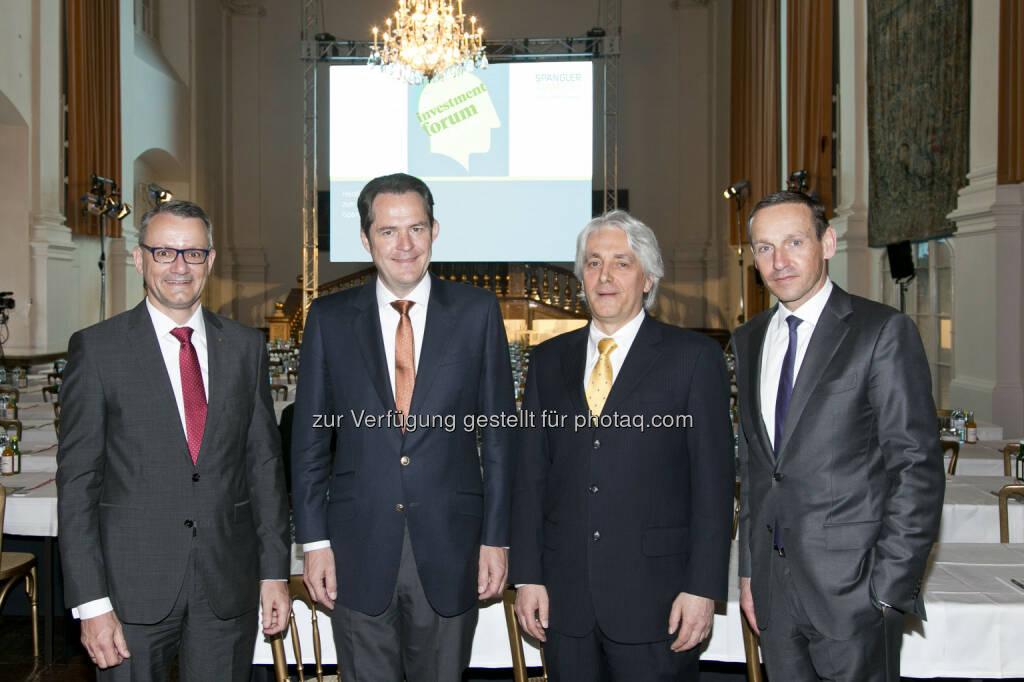 Wolfgang Wrzesniok-Roßbach (Degussa Goldhandel GmbH), Johannes Benigni (JBC Energy Group), Fritz Gattermayer (Agrana Beteiligungs AG), Markus Ploner (Spängler IQAM Invest), © Spängler IQAM Invest (07.04.2016)