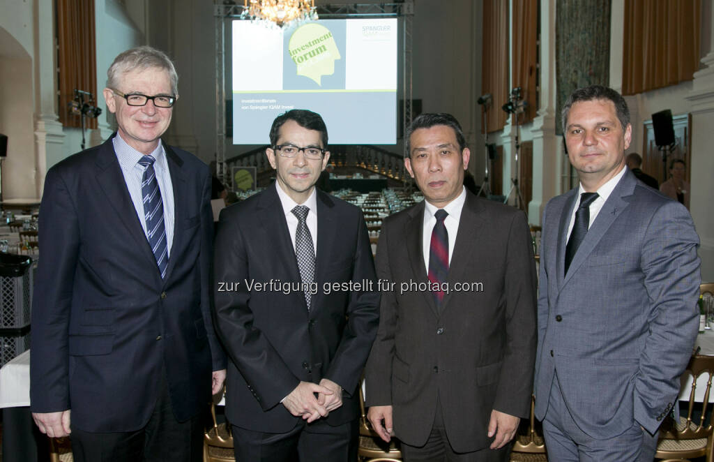 Engelbert J. Dockner (Spängler IQAM Invest), M. Ayhan Kose (Weltbank), Xuewu Gu (Universität Bonn), Thomas Steinberger (Spängler IQAM Invest), © Spängler IQAM Invest (07.04.2016)