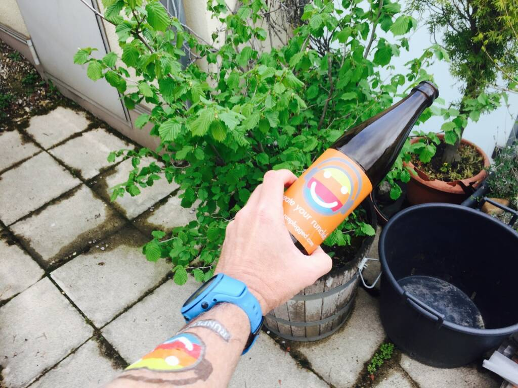 Das Selbstgebraute von Andreas Rois wurde für einen Tag zum Runplugged Bier (10.04.2016)