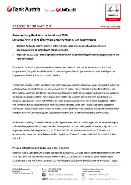 Ausschreibung Bank Austria Sozialpreis 2016: Bewerbungen für Sozialprojekte, Seite 1/2, komplettes Dokument unter http://boerse-social.com/static/uploads/file_864_ausschreibung_bank_austria_sozialpreis_2016_bewerbungen_fur_sozialprojekte.pdf (11.04.2016)
