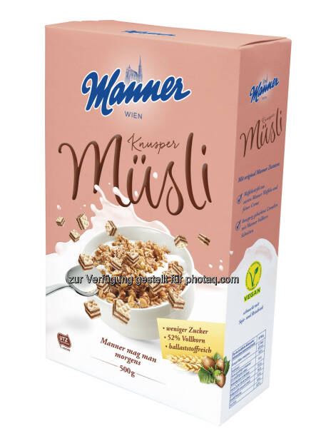 Manner Knusper Müsli : Neu - Manner mag man morgens : Fotocredit: Manner, © Aussender (11.04.2016)