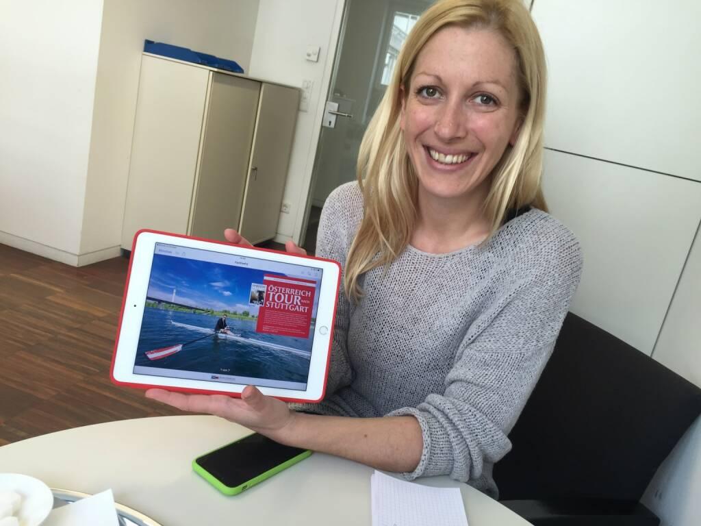 Mit Elisabeth Wagerer (S Immo) über Dies und Das, gerade kam die fertige Fachheft 43-Strecke für Stuttgart rein ... (11.04.2016)