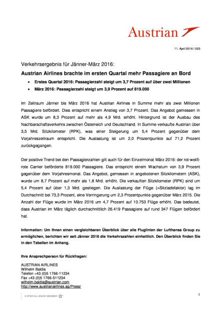Austrian Airlines brachte im ersten Quartal mehr Passagiere an Bord, Seite 1/3, komplettes Dokument unter http://boerse-social.com/static/uploads/file_868_austrian_airlines_brachte_im_ersten_quartal_mehr_passagiere_an_bord.pdf (11.04.2016)