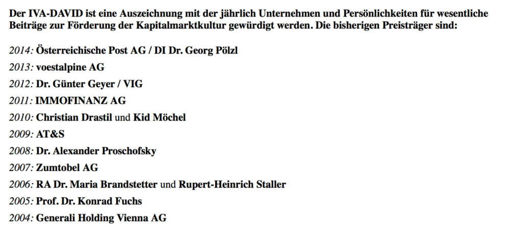 IVA-David, das war 2010 eine Auszeichnung im Kerngeschäft: 2015 an Karl-Heinz Strauss von der Porr (12.04.2016)
