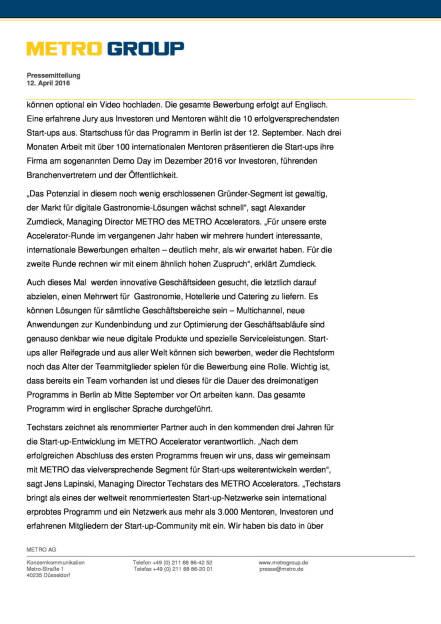 Metro Group: Metro Accelerator startet gemeinsam mit Start-up- Schmiede Techstars in zweite Runde, Seite 2/3, komplettes Dokument unter http://boerse-social.com/static/uploads/file_870_metro_group_metro_accelerator_startet_gemeinsam_mit_start-up-_schmiede_techstars_in_zweite_runde.pdf (12.04.2016)