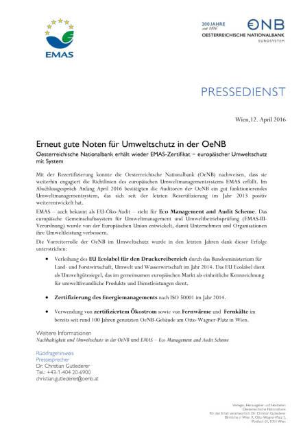OeNB : gute Noten für Umweltschutz, Seite 1/1, komplettes Dokument unter http://boerse-social.com/static/uploads/file_871_oenb_gute_noten_fur_umweltschutz.pdf (12.04.2016)