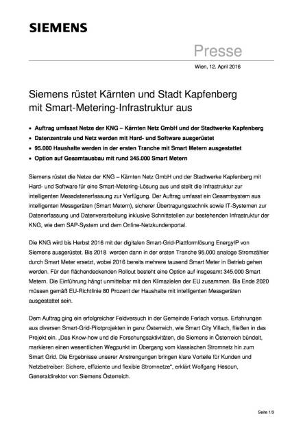 Siemens: Smart-Metering-Infrastruktur für Kärnten und Stadt Kapfenberg, Seite 1/3, komplettes Dokument unter http://boerse-social.com/static/uploads/file_874_siemens_smart-metering-infrastruktur_fur_karnten_und_stadt_kapfenberg.pdf (12.04.2016)