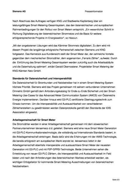 Siemens: Smart-Metering-Infrastruktur für Kärnten und Stadt Kapfenberg, Seite 2/3, komplettes Dokument unter http://boerse-social.com/static/uploads/file_874_siemens_smart-metering-infrastruktur_fur_karnten_und_stadt_kapfenberg.pdf (12.04.2016)