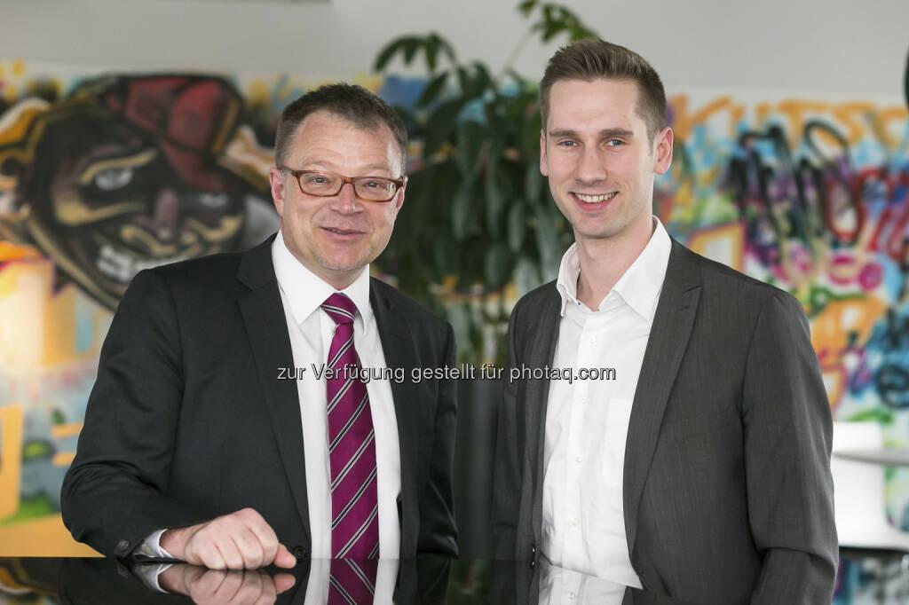 Kapsch unterstützt Crowdinvesting Plattform Conda: Alf Netek (Chief Marketing Officer der Kapsch Group) und Daniel Horak (Geschäftsführer Marketing & Vertrieb Conda Unternehmensberatungs GmbH); Credit: Kapsch AG/APA-Fotoservice/Schedl (10.04.2013)