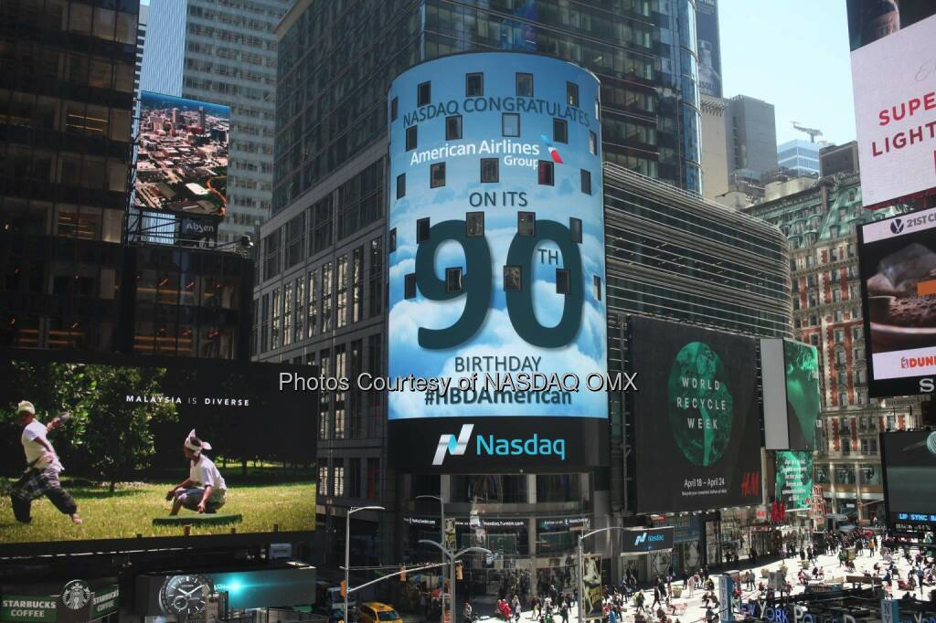 Nasdaq congratulates American Airlines  on its 90th Birthday! #HBDAmerican  Source: http://facebook.com/NASDAQ (18.04.2016)