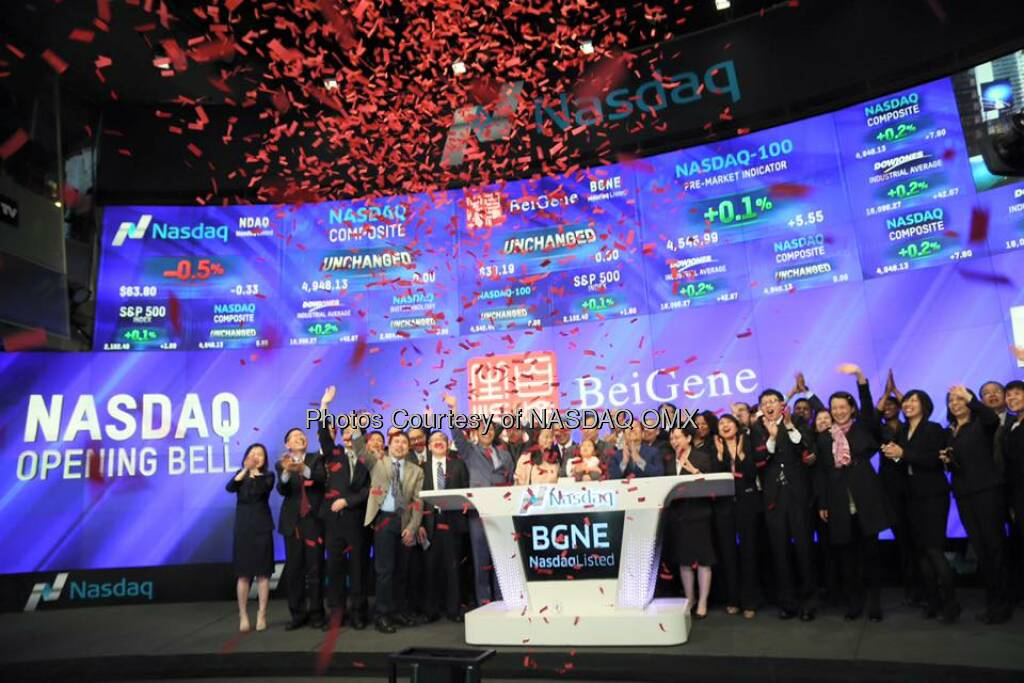 BeiGene rings the Nasdaq Opening Bell in celebration of recent #IPO!   Source: http://facebook.com/NASDAQ (21.04.2016)
