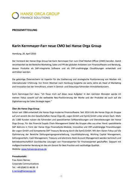 Karin Kernmayer-Farr neue CMO bei Hanse Orga Group, Seite 1/1, komplettes Dokument unter http://boerse-social.com/static/uploads/file_945_karin_kernmayer-farr_neue_cmo_bei_hanse_orga_group.pdf (26.04.2016)