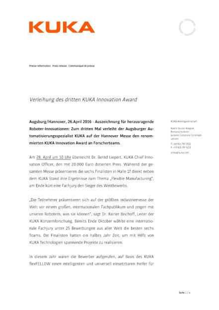 Kuka Innovation Award, Seite 1/4, komplettes Dokument unter http://boerse-social.com/static/uploads/file_946_kuka_innovation_award.pdf (26.04.2016)