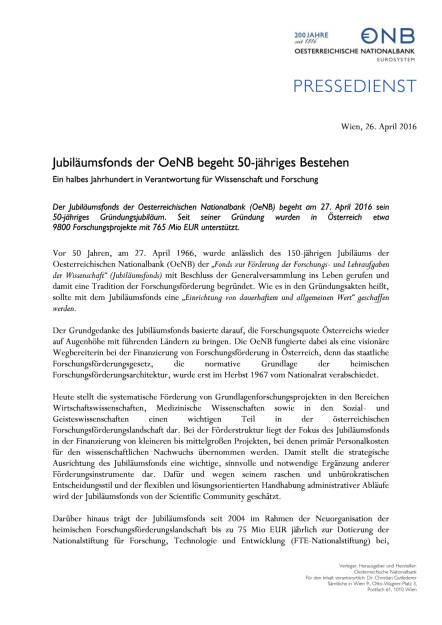 OeNB: Jubiläumsfonds begeht 50-jähriges Bestehen, Seite 1/2, komplettes Dokument unter http://boerse-social.com/static/uploads/file_948_oenb_jubilaumsfonds_begeht_50-jahriges_bestehen.pdf (26.04.2016)